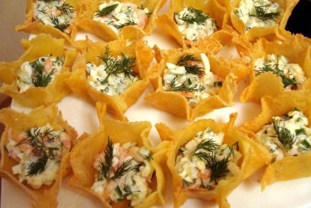 салаты в тарталетках рецепты сырный