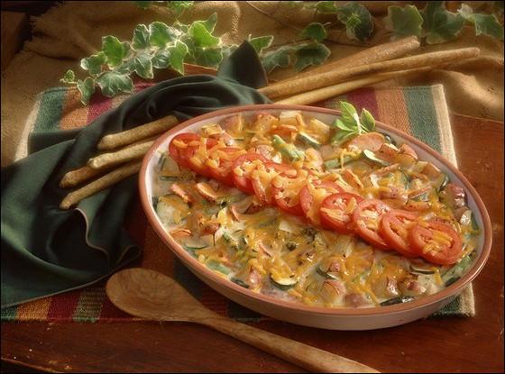 Запеканка с мясом, овощами и рисом