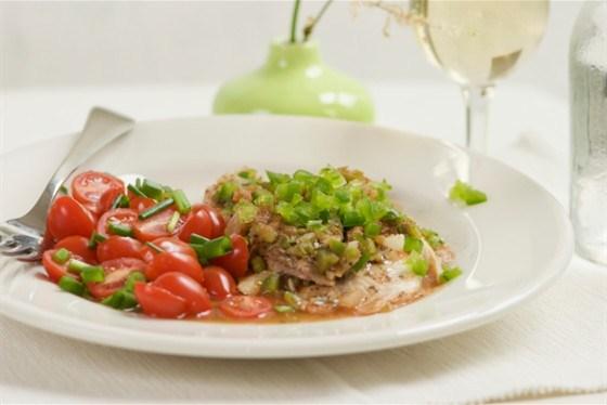 Камбала отварная с овощами
