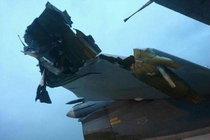 Опубликовано фото поврежденного приобстреле самолета РФ