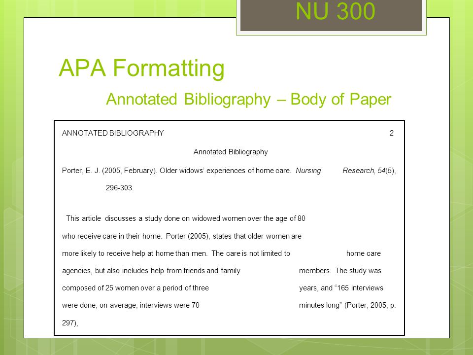 Write my examples of annotated bibliography in apa format